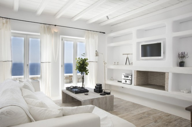 Greece-Villa-Livingg-Villa-In-Mykonos-White-Wooden-Floor