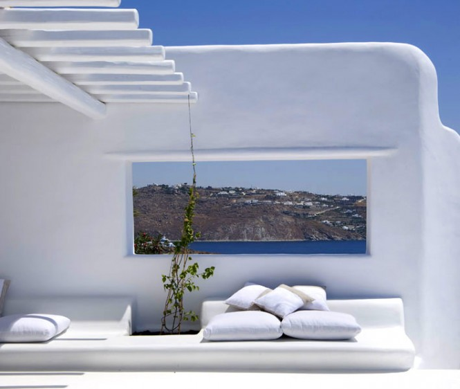 Greek-Villa-Balcony-Villa-In-Mykonos-White-Pillows