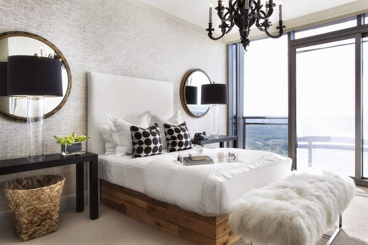 Lee Kleinhelter bedroom black white black chandelier furry bench baskets