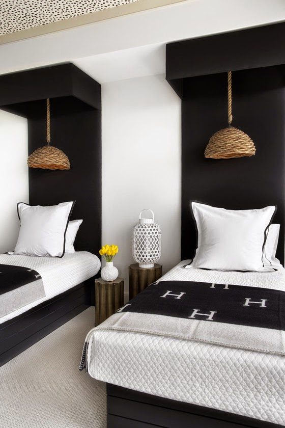 Lee Kleinhelter bedroom black white spotted ceiling Hermes throw rattan pendants