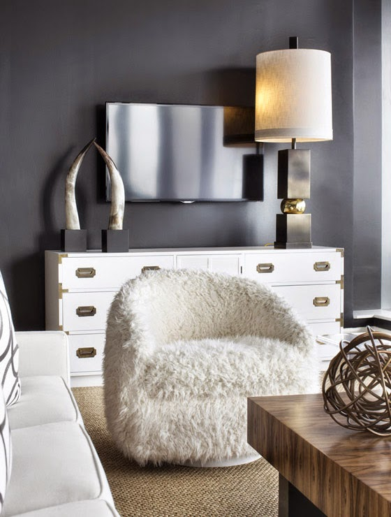 Lee Kleinhelter living room black white campaign dresser horns furry chair