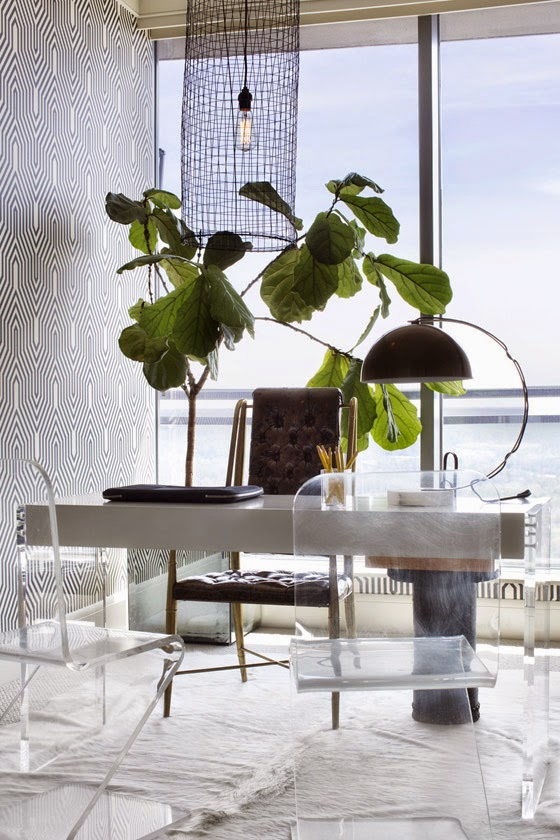 Lee Kleinhelter office black white ziggurat wallpaper Lucite chairs fiddle leaf fig